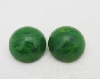 Antique 1930s Green Apple Juice Amber Bakelite Clip on Earrings