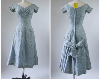 1950s Prom Blue Lace Dress Dead Stock with Hang Tags Fit and Flare Size Small Large Bows Blue Taffeta with Beige Lace Overlay by Don-Ell