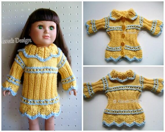 Knitting Pattern Sunshine Sweater Dress for 18 inch Doll Knitting Patterns for American Doll My Life Christmas Gift for Girl Doll's clothing