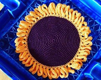 Girasole a crochet. Ricordi d'estate. Summer memories Crochet Sunflower. 100% puro cotone Handmade in Italy.