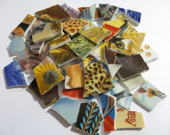 3 Pounds Bulk Mosaic Tiles - Hand Cut Vintage Collector Plates Broken China