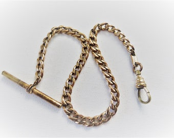 Victorian Curb Link Rose Gold Filled Pocket Watch Chain