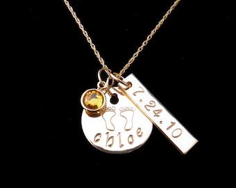 Collier maman personnalisé, cadeau de fête des mères, à la main souvenir estampillé bijoux, nom, Date et empreinte de bébé collier en or, collier maman