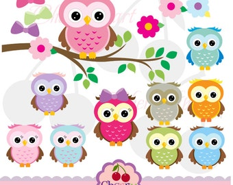 Cute Owls Digital Clipart Elements Set NO.AN021