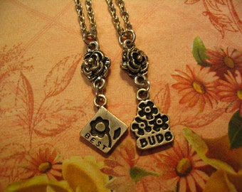 Best Friends Best Buds Necklace Set for Best Friends or Sisters Jewelry Gift