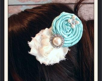 Wedding hair clip , flower girl headband , bridesmaid hair clip , chiffon headband , rolled rosette