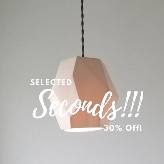 SECONDS Geometric Porcelain Pendant Light, Modern Lighting, 30% off!