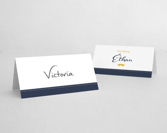 Place cards with Navy Blue and white piping and yellow mustache - model Ethan 1