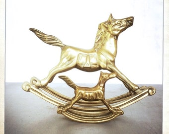 vintage pair brass rocking horse figurines equestrian nursery decor