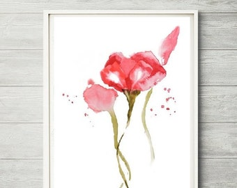 Flower Wall Art Decor Rose Watercolor Floral Single Print Painting11x14 8x10 12x16
