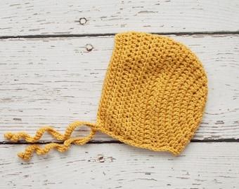 Toddler Girl Bonnet in Mustard - 12 to 24 Months (Skyla)