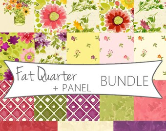 Fresh Picked 17 Fat Quarter Bundle with panel by Sue Zipkin for Clothworks