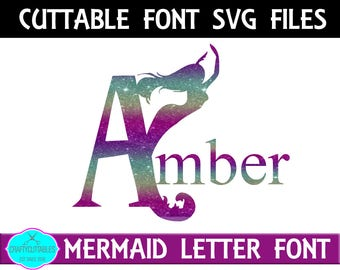 Mermaid Monogram Font SVG, PNG Files Silhouette Cameo and Cricut Files