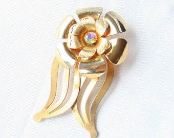 Vintage Daisy Flower Brooch Layered Pin 3D AB Rhinestone Center