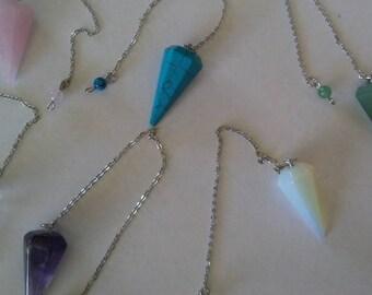 Pointed pendulums Chakra Crystals Stones Set  stones undyed  Healing crystals meditation crystal grid  energy chakra balance