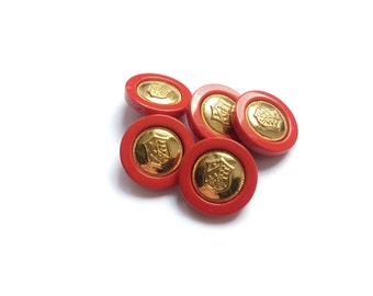 5 Vintage Red Coat of Arms, Red & Gold, French Coat of Arms Buttons