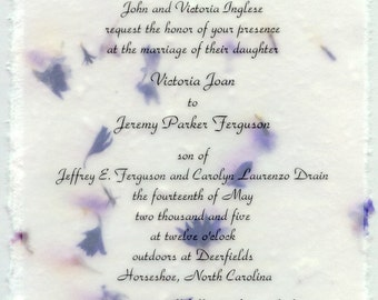 Torn edge Invitation panels for DIY Eco-Friendly events 5x7 panel invitation 10 count - pick from 30 seed papers