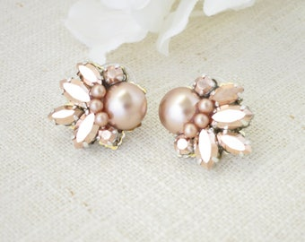 Rose gold wedding earring, Swarovski crystal and pearl post earring, Rhinestone and pearl bridal earring, Vintage style wedding earring
