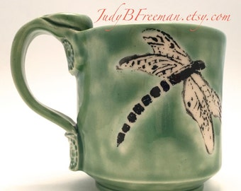 Dragonfly Stoneware Ceramic Mug on Celadon 12 Ounces Made to Order Wheel Thrown Handmade MG0050