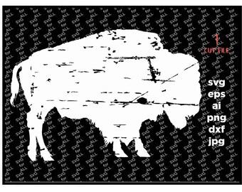 Buffalo svg, grunge svg, Fall svg, SVG, bison svg, distressed SVG, Digital Download, clip art, commercial use, distressed, dxf, eps