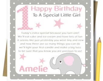 Niece first birthday etsy personalised girls 1st birthday card first birthday card for daughter granddaughter goddaughter niece babies 1st bookmarktalkfo Images