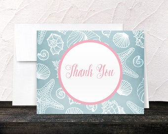 Beach Thank You Cards - Blue Seashell Pink Beach - Printed Cards