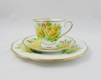 "Royal Albert ""Tea Rose"" Tea Cup and Saucer Trio, Yellow Roses, Vintage Bone China"