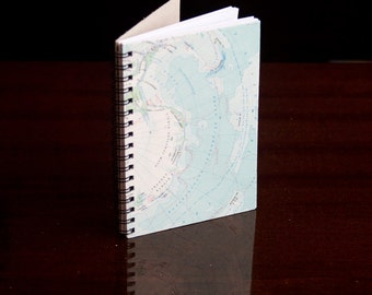 """4x6"""" Recycled Map notebook, spiral journal, pocket notebook journal jotter writing, travelers notebook atlas spiral bound back to school"""