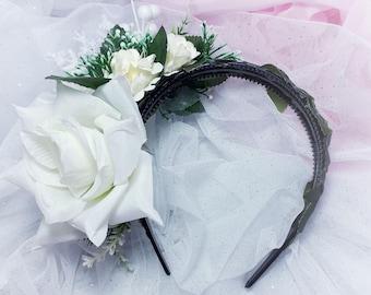 White Winter Woodland Bridal Wedding flower crown headband tiara headdress headpiece fascinator