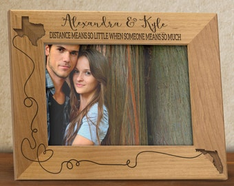 Two States Frame Personalized for Long Distance Couple, Distance Means so little Photo frame, engraved wood frame, picture frames FR0103