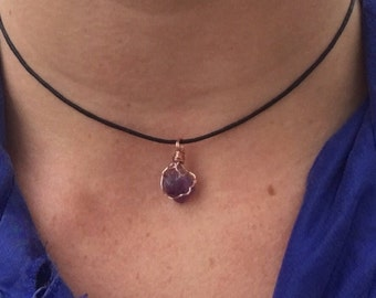Wire Wrapped Amethyst Choker