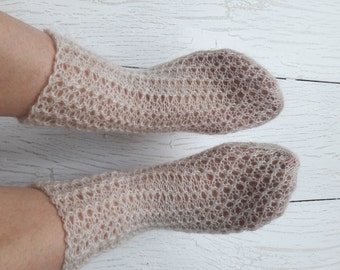 Knitted wool socks Sleeping socks Knit lace socks Hand knit socks Knitting beige socks Ladies socks Beige wool socks Warm socks Casual socks