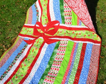 CLEARANCE ~ Modern Quilt Holiday Bedding Mod Quilt Handmade Quilt Throw Funky Festive Holiday Quilt Gift Wrapped Unique Novelty Quilt