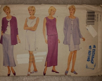 Butterick 6005 Fast and Easy Misses'/Petite Jacket, Top, Dress and Skirt.  Loose Fitting, Unlined Jacket.  Size 8-10-12
