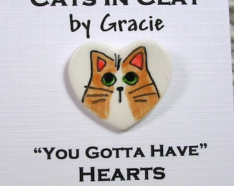 Orange & White Cat On Heart Shaped Clay Pin Brooch Handmade Kiln Fired