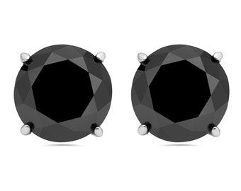 2.00 Carat Round Brilliant Cut Black Diamond Studs Earrings Available In 14K White or Yellow Gold