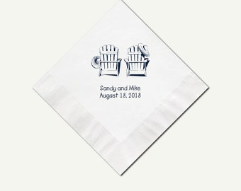 Beverage Napkins Adirondack Chairs | Personalized (3 Ply) White Color Cocktail Napkins | Custom White Appetizer And Dessert Napkins