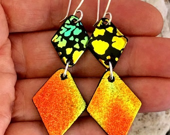 LONG Dichroic Earrings Autumn Orange with Argentium Sterling Silver Wires