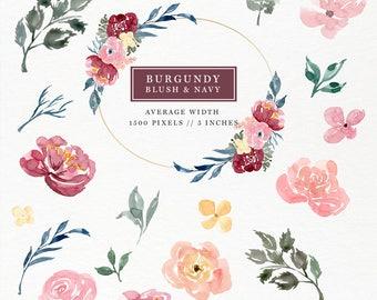 Burgundy Blush Watercolor Flower Clipart, Separate Florals Branches Leaves Stalks Berries Buds, Logo Branding, Website Header, Greeting Card