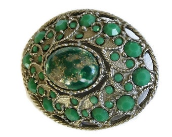Vintage Green & Gold Foil Brooch with Opaque Green Rhinestones