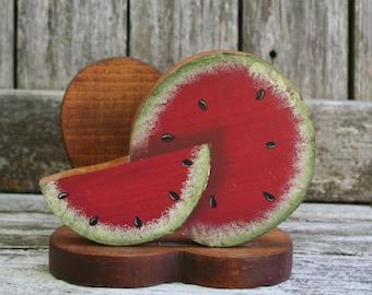 Vintage Handmade Wood Watermelon Slice Napkin or Letter / Mail Holder