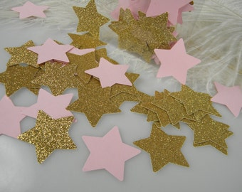 Star Confetti / Twinkle twinkle star baby shower Gold or Silver & Pink Party Decoration / 1st Birthday / Its a Girl Baby Shower / 100 pcs