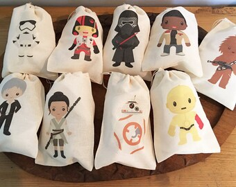Star Kids Inspired Gift Party Favor Bags. Set of 9 -  5x7 6x8 7x9 7x11 10x12 Drawstring Birthday Gift Basket Bags Personalized NEW!