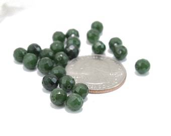 Faceted Olive Green Jade 6mm 8 pcs