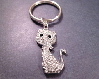 Pave Cat Keychain, White Glass Rhinestones and Silver Chrome Steel Split Key Ring, Cat Lover Gift, FREE Shipping U.S.