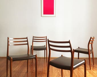 Vintage Model 78 Dining Chairs by Niels Otto (N. O.) Møller for J.L. Møllers, Set of 4