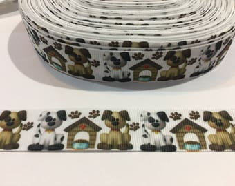 3 Yards of Ribbon 7/8 inch Wide - White with Dogs or Puppies and Dog Houses