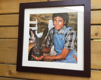 "12"" x 12"" Framed Michael Jackson Poster/ Michael Jackson on the Farm / 1980's Pop Star Posters"