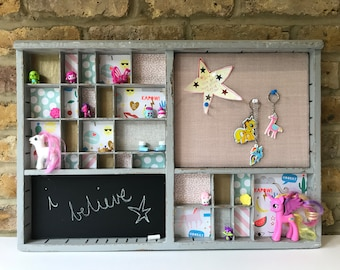 Vintage French letterpress tray printers tray upcycled rainbows and unicorns