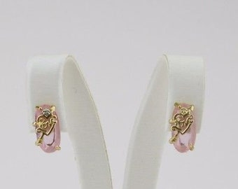 10k Yellow Gold Love & Heart Pink Stone Earrings 2.3 Grams